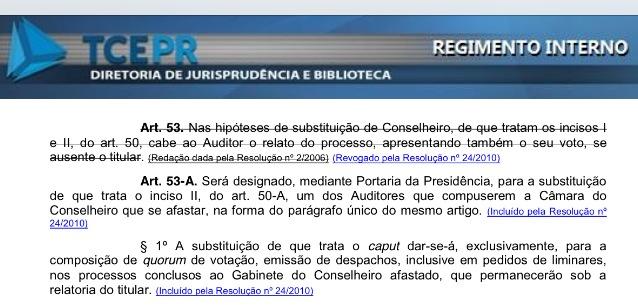 Artigo do Regimento Interno do TCE/PR alterado em 2010