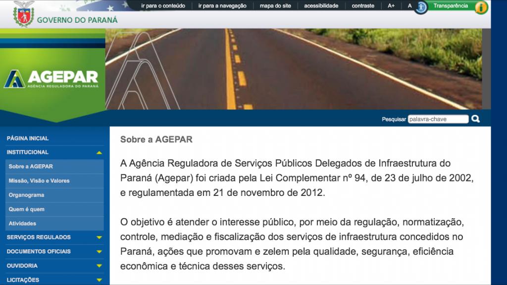 Página na internet da AGEPAR, autora da consulta n.º 840955/13, respondida pelo TCE/PR no último dia 12/06/14