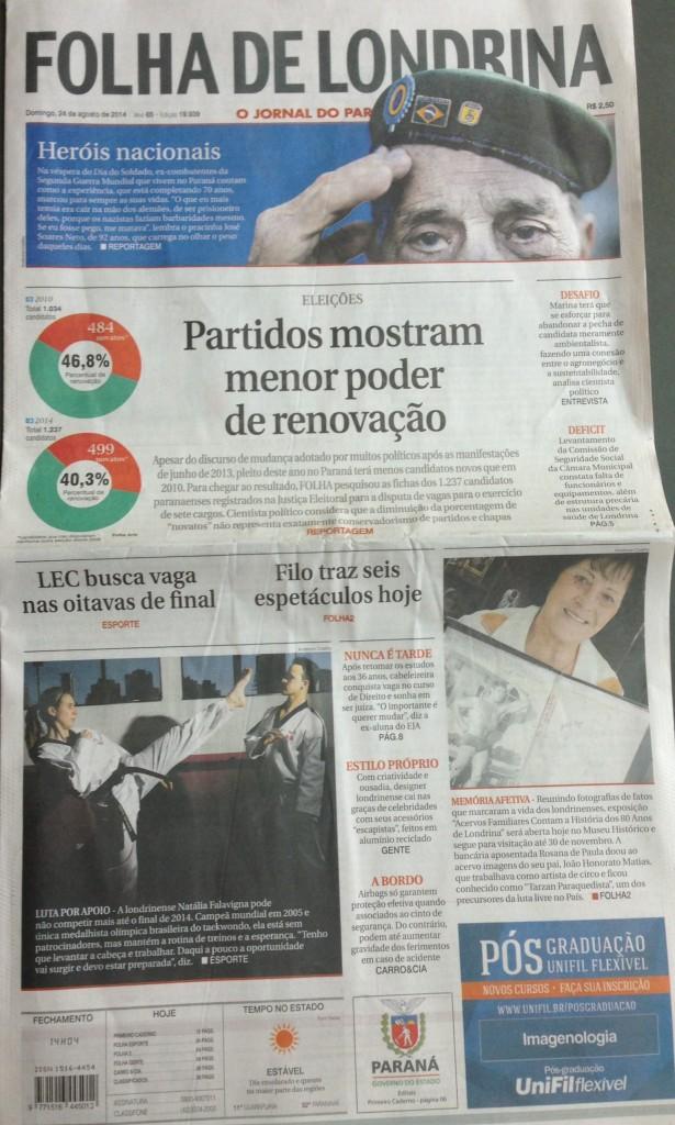 Capa da edição impressa da Folha de domingo, 25/08/14