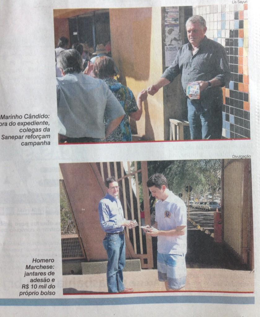 Reportagem inclui foto de Homero em campanha em Maringá