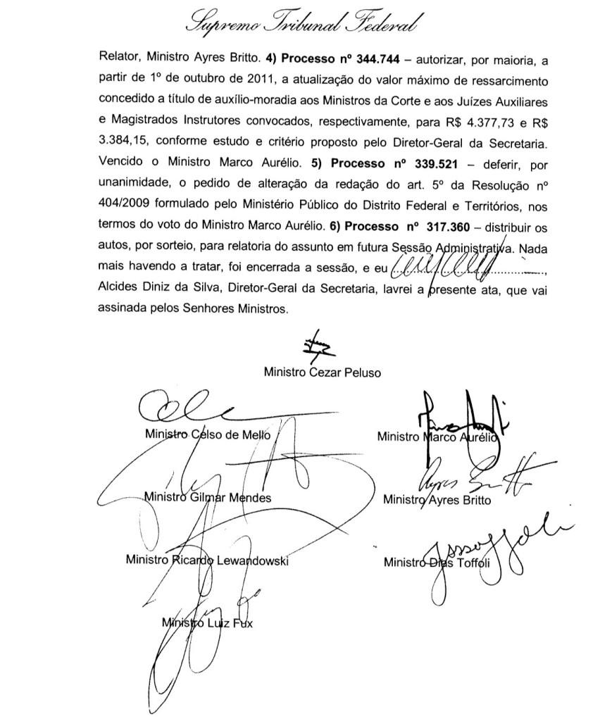 Ata da reunião do STF de 21/09/11: a Corte estabelece o valor do auxílio-moradia por conta própria
