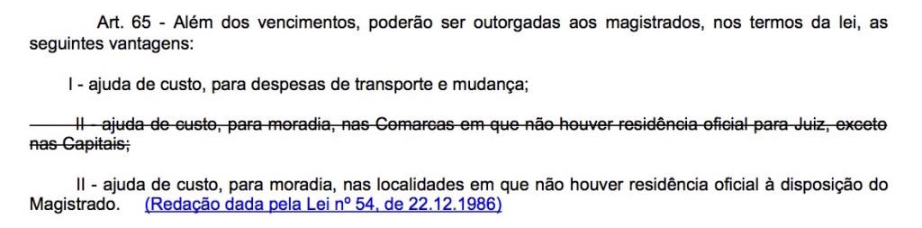 Art. 65 Lei Complementar 35/79 (LOMAN): sem autoaplicabilidade, foi esquecido por anos pelos Tribunais brasileiros