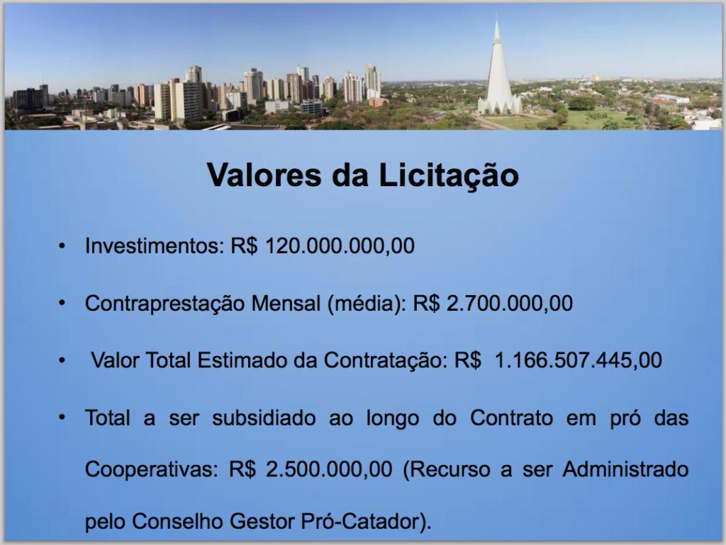 Slide da apresentação da PPP do lixo pela Prefeitura de Maringá: custo mensal estimado de R$ 2,7 milhões