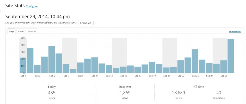 Estatísticas do site: aumento do tráfego na reta final de campanha (fonte: WordPress)